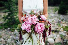 Pink bridal bouquet | Ali V Photography | see more on: http://burnettsboards.com/2014/12/unique-colorado-elopement/