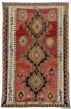 Turkish tribal kilim rug hand-woven in Kirsehir, in Central Anatolia in mid 20th century. This kilim is in very good condition. (ID: K0010267)