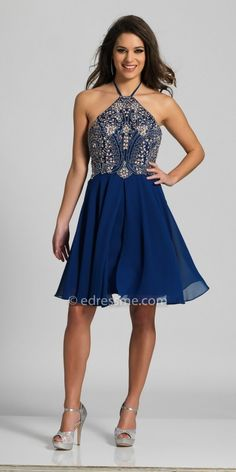 Homecoming fashion for women. I'm an affiliate marketer with links to shopstylecollective.com. When you click on a link or buy from the retailer, I earn a commission. Dave and Johnny Chiffon Beaded Halter Neckline Homecoming Dress. http://shopstyle.it/l/hoAM.