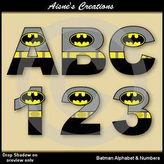 Números y letras del alfabeto de batman Liga de por AisnesCreations