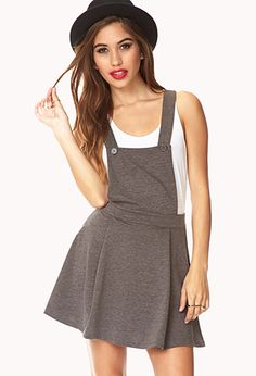 No-Fuss Overall Dress | super cute jumper with a long sleeved shirt underneath, tights and boots.