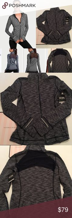 Victoria/'s Secret VSX Half Zip Knockout Jacket Mesh Color Black /& White NWT