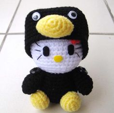 El blog de Noe: Agujas, lana, tijeras...: Nº9 kitty disfrazada de pingüino