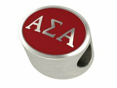 Alpha Sigma Alpha Solid Sterling Silver and Enamel Sorority Bead Fits Pandora Style Charm Bracelets. 459