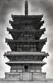 how to draw a pagoda, japanese pagoda