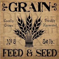 GRAIN - WHEAT - Feed & Seed - 12 x 12 - 7 mil Mylar STENCIL for Burlap Pillows / Wood Signs