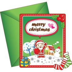 Vector Merry Christmas Santa Claus with green Christmas Greeting card with envelope
