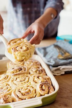 Apple and Pear Cinnamon Morning Buns | A twist on classic cinnamon buns that you can make ahead!