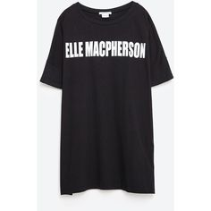 Zara Elle Macpherson T-Shirt (78 BRL) ❤ liked on Polyvore featuring tops, t-shirts, black, zara tops and zara t shirt