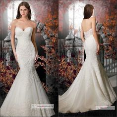 2015 New Sexy Sweetheart Lace Mermaid Wedding Dresses Organza Lace Applique Bridal Gowns With Buttons Back Ml12713, $156.03   DHgate.com