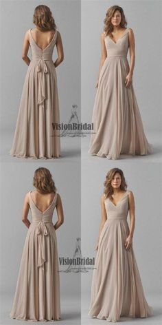 Regular Straps V-Neck Pleating Zipper Up A-Line Long Chiffon Bridesmaid Dress, Bridesmaid Dresses, VB0456 #bridesmaids #bridesmaiddresses
