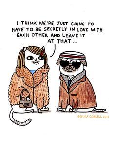 GEMMA CORRELL'S TUMBLR O' THINGS. pug. cat. illustration. love. Margot and richie tenenbaum. Wes Anderson. the royal tenenbaums. fan art.
