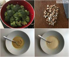 Brócoli al vapor con aliño de tahini y limón. Receta de cocina fácil, sencilla y deli Tahini, Oatmeal, Breakfast, Healthy, Food, Al Dente, Steamed Vegetables, Finger Foods, Healthy Recipes
