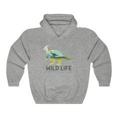 Dinosaur Hooded Sweatshirt <br> Wild Life - Sport Grey / M