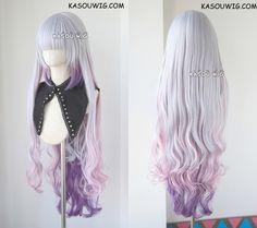 / Kobayashi-san Chi No Maid Dragon Kanna Kamui silver purple ombre long wavy cosplay wig Maid Cosplay, Cosplay Outfits, Cosplay Wigs, Cosplay Costumes, Maid Dragon Kanna, Real Wigs, Kawaii Wigs, Cute Hair Colors, Hair Reference