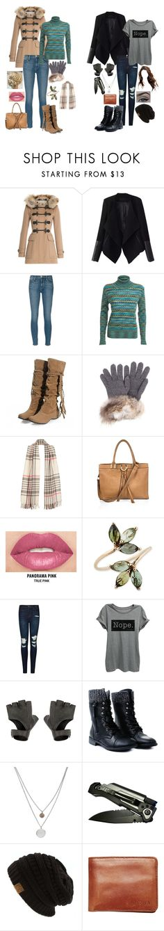 """""""Ed and Siobhan: Winter"""" by dottieonthemoon ❤ liked on Polyvore featuring Burberry, Relaxfeel, Frame Denim, Missoni, Inverni, River Island, Smashbox, J Brand, Kenneth Cole and Nixon"""