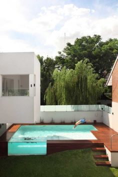 Elevated swimming pool by Andres Remy, with viewing window, and landscape built up to meet steps.