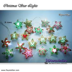 Tutorial Christmas Star Lights 20 x - Peyote Stars + Basic Tutorial Little Peyote Star Star Patterns, Beading Patterns, Crochet Patterns, Beaded Christmas Ornaments, Christmas Star, Ornament Tutorial, Bead Store, Digital Pattern, Pattern Making
