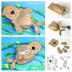Stuffed Paper Bag Sea Otter Craft with Printable Template! Paper Bag Sea Otter Craft for Kids with free printable sea otter and baby sea otter template- fun ocean or sea life craft Sea Animal Crafts, Fox Crafts, Puppet Crafts, Animal Crafts For Kids, Toddler Crafts, Preschool Crafts, Art For Kids, Paper Animal Crafts, Paper Animals