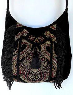 Fringed Gypsy Tapestry Bag Messenger Renaissance Crossbody Black Velvet Boho Purse from piperscrossing on Etsy. Black Velvet, Fashion Bags, Boho Fashion, Gypsy Bag, Boho Bags, Hippie Bags, Boho Hippie, Floral Shoulder Bags, Tapestry Bag
