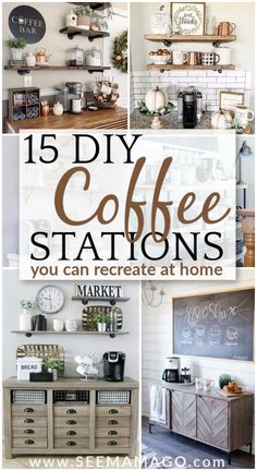15 DIY Coffee Stations You Can Recreate at Home DIY Coffee stations you can easily create in your own home! These simple farmhouse style coffee bars are exactly the decor your home needs! Modern coffee bar, rustic coffee stations, bar carts and more! Coffee Bar Station, Tea Station, Home Coffee Stations, Bar Table Diy, Diy Bar, Home Coffee Tables, Coffee Bar Home, Coffee Bar Ideas, Coffee Nook