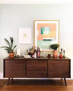 Scandinavian furniture sideboard decor Ideas for 2019 Sideboard Dekor, Credenza Decor, Walnut Sideboard, Dining Room Sideboard, Sideboard Ideas, Dining Room Bar, Dining Tables, Credenza Ikea, Sideboard Furniture