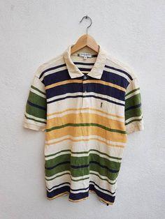 e2101a3c491 Vintage 90s YSL Yves Siant Laurent Pour Homme Stripes Color Block  Embroidered Monogram Casual Polos Shirt Size M