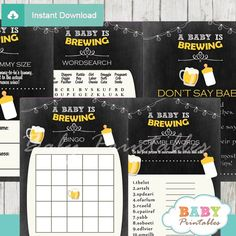 A Baby is Brewing Beer & BaByQ Baby Shower Games Bundle - D156 - Baby Printables