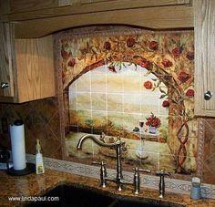 superficie decorada en la cocina