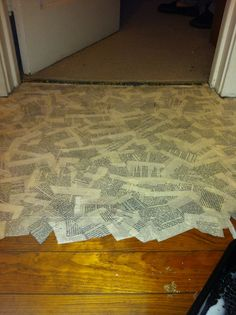 Book pages to cover the floor!? Really? Hmmmmm......interesting.