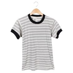 Frances Ringer Tee | 70s inspired retro ringer tee with black and white stripes and contrast trim. #CampCollection www.shopcamp.com