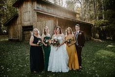 We loved this rich color palette for a fall wedding at the Red Tin Barn. These mismatched bridesmaid dresses compliment the fall colors at the Red Tin Barn wedding venue in Edmonton. Theatre Wedding, Barn Wedding Venue, Party Photos, Wedding Photos, Wedding Ideas, Mismatched Bridesmaid Dresses, Davids Bridal, Designer Wedding Dresses, Wedding Vendors