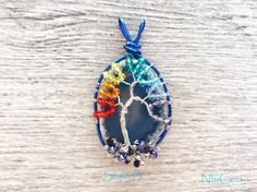 Items similar to Blue Agate Chakra Tree, Family Pendant Necklace, Wire wrapped, Crystal Family Tree , Clay pendant - courage stone -Protection pendant on Etsy Dichroic Glass Jewelry, Tree Of Life Pendant, Rainbow Colors, Wire Jewelry, Wire Wrapping, Etsy Seller, Colours, Crystals, Handmade Gifts