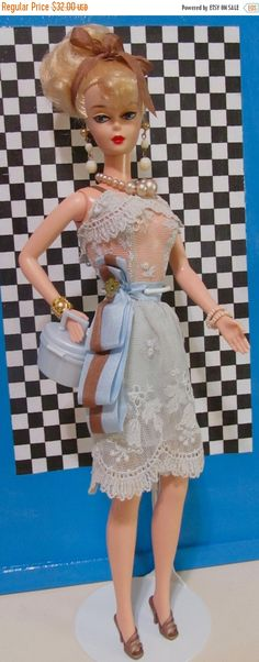 ON SALE 25% Vintage Barbie Modified Lace Dress On by DressMeDoll