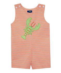 Loving this Orange & Green Gingham Lobster Shortalls - Infant on #zulily! #zulilyfinds