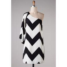 Black White Chevron Zig Zag Dress