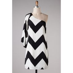 Black White Chevron Zig Zag Dress