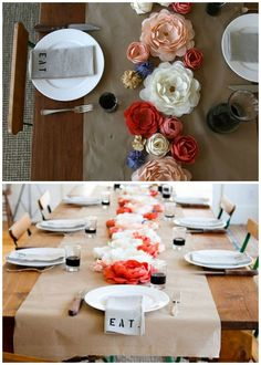 Paper Flower Table Runner with butcher paper table runner - add crayons for guests to play with! Paper Flower Centerpieces, Tissue Paper Flowers, Centerpiece Ideas, Hay Wedding, Wedding Ideas, Wedding Reception, Wedding Stuff, Table Flowers, Burlap Flowers