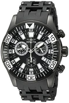 Invicta Mens 19533 Sea Spider Analog Display Swiss Quartz Black Watch *** Click on the image for additional details.