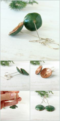 Enamel earrings green sterling silver artisan jewelry by alery, $32.00