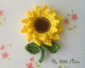 NEW-Pure cotton Applique 2 pcs by Mylittlepalette on Etsy Tunisian Crochet, Knit Crochet, Knitted Flowers, Flower Crochet, Sunflower Pattern, Wool Applique, Crochet Doilies, Crochet Earrings, Pure Products
