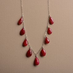 ruby red necklace sterling silver necklace ruby jewelry by izuly, $169.00