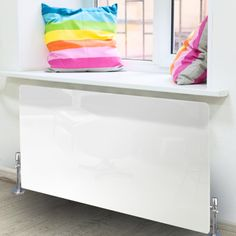 Radiator Art - High Gloss White Glass Radiator Cover - X Large
