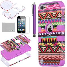 Pandamimi ULAK(TM) Hybrid Pink Hard Aztec Tribal Pattern with Purple Silicon Case Cover for Apple iPod Touch (Generation 5) + Screen Protector + Stylus