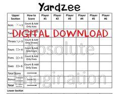 Printable Yardzee Score Card With Rules Combo Yardzee Board