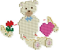 3D Sweetheart Bear Perler Project Pattern