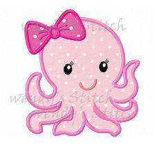 Girl octopus applique machine embroidery design by WendysStitch Baby Applique, Machine Embroidery Applique, Free Machine Embroidery Designs, Applique Patterns, Applique Designs, Hand Embroidery, Quilt Patterns, Motifs D'appliques, Sewing Appliques
