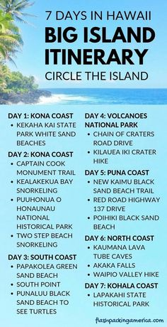 7 days on Big Island Hawaii itinerary - Hawaii travel tips for beach vacation ideas on Big Island Hawaii. Big Island itinerary 7 days with - Hawaii Travel, Travel Usa, Beach Travel, Travel Tips, Hawaii Honeymoon, Travel Packing, Shopping Travel, Travel Checklist, Florida Travel