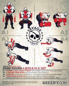 workout cirucit: squats, rows, push ups, planks