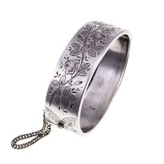 Victorian Sterling Silver Hinged Bangle with Floral Engraving Birmingham Jewellery Quarter, Vine Design, Silver Bangle Bracelets, Sterling Silver Cuff, Hand Engraving, Antique Silver, Gemstone Rings, Victorian, Antiques